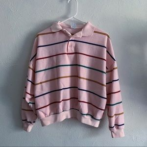 vintage 80s striped baby pink colorful sweater